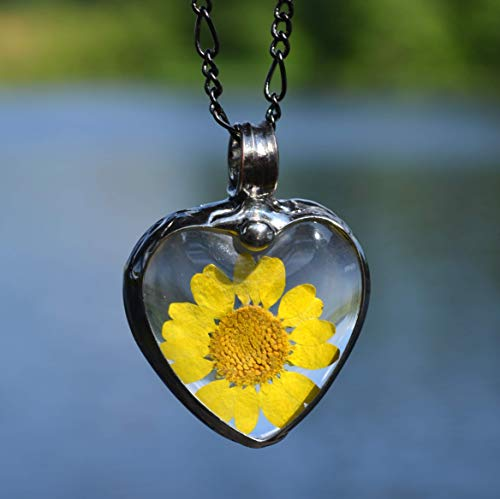 Sunflower Large Pressed Flower Heart Necklace Real Flowers Glass Pendant Necklaces for Women 2788 ()