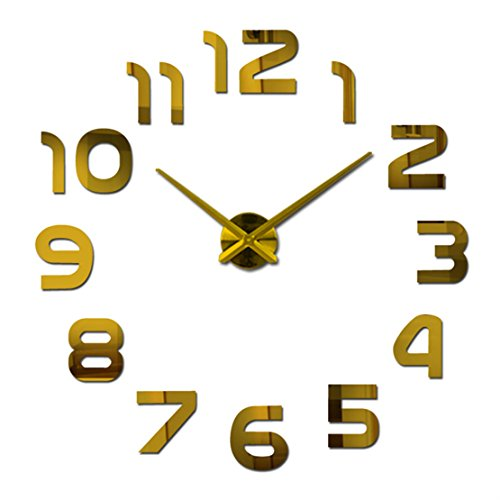 Christmas Present DIY 3D Large Wall Clock Home Decor Sticker Gold Mirror Holiday Gift]()