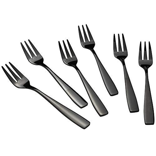 Teyyvn 16-Piece Black Stainless Steel 3-Tines Fork, Appetizer Forks