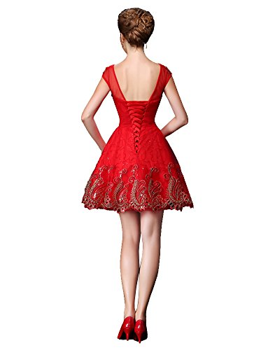 Saum Cocktailkleid Spitze See Rückenfrei Mini Kurzarm Rot Through Gold Saum Beauty Emily g1wHnI4q50