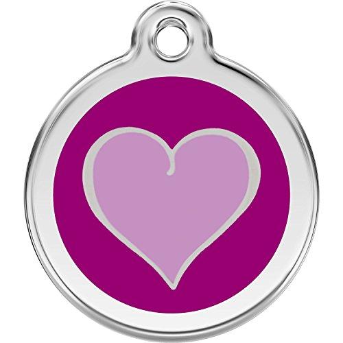 (Red Dingo Personalized Purple Heart Pet ID Dog Tag (Medium))