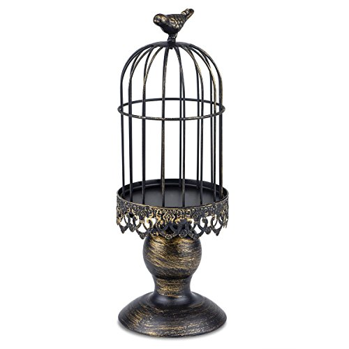 Autai Candle Holder Metal Birdcage Vintage Candlestick Decoration Candle Stick Holder for Wedding Centerpieces Birthday Party Christmas Valentine's Day Restaurant Dining Table Home Dec(Birdcage-Black)