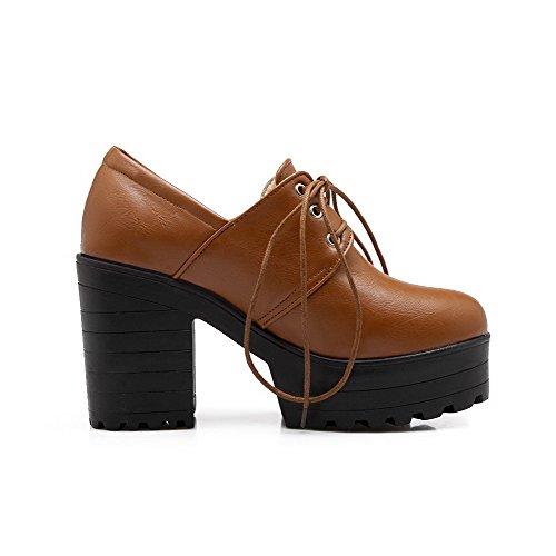 Solide Delle Punta Tacchi Donne Amoonyfashion scarpe Rotonda Alti Fino Marroni Chiusa Pizzo Pompe RzS6wRq