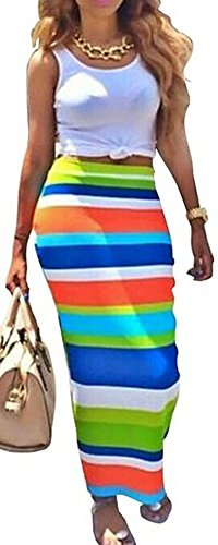 Womens Maxi Boho Summer Long Skirt Evening Cocktail Party Dress - 3