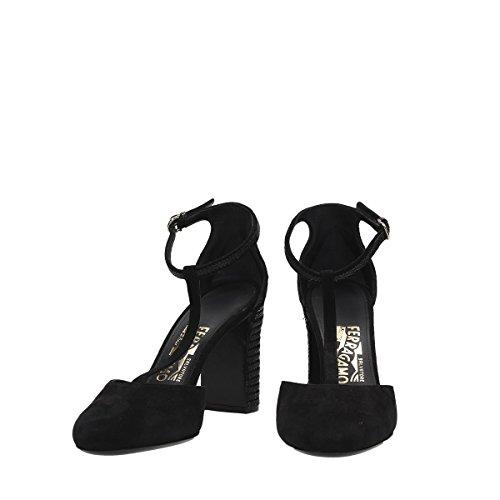 Femme À Chaussures 0654159 Talons Salvatore Ferragamo Noir Suède pqPZwC