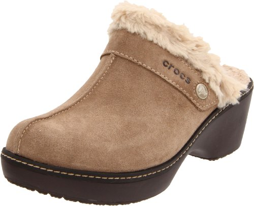 Crocs - Zapato de cuero del zapatero de la Mujer Clog - Khaki-Espresso