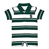 Michigan State Spartans NCAA College Infant Baby Rugby Striped Romper (6 Months)
