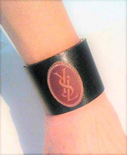119e12b7288ce9 Image Unavailable. Image not available for. Color: YSL Yves Saint Laurent  upcycle repurpose. Gorgeous Leather on metal Cuff Bracelet