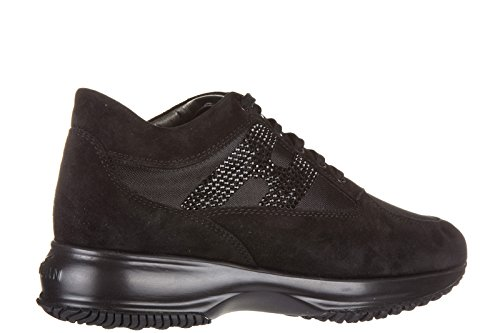 Hogan chaussures baskets sneakers femme en daim interactive h strass noir