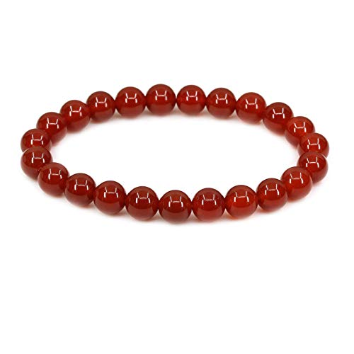 (AA Grade Red Agate Gemstone 8mm Round Beads Stretch Bracelet 7