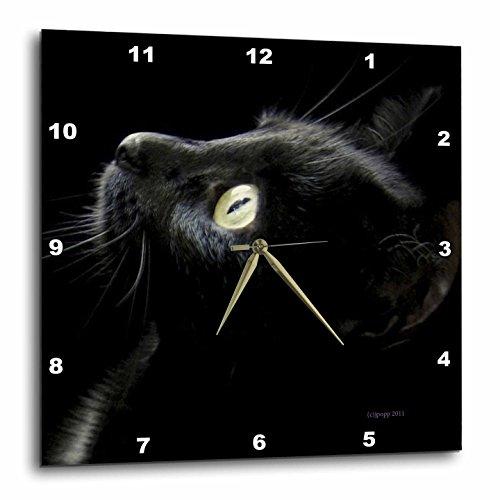 Wall Metal Cat Clock (3dRose Black Cat Face - Wall Clock, 15 by 15-Inch (DPP_23822_3))