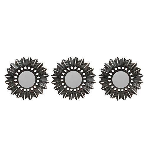 Northlight Set of 3 Floral Sunburst Bronze Round Wall Mirrors 9.5