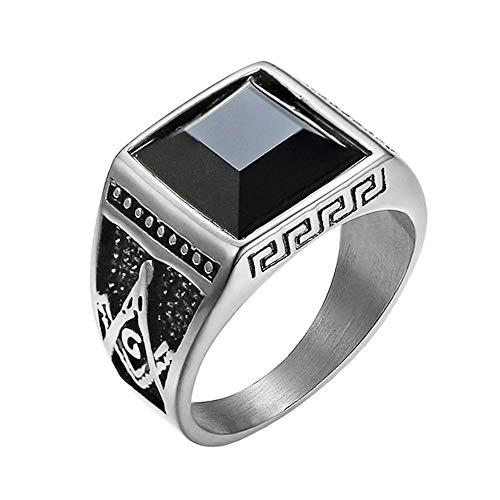 (IFUAQZ Men's Stainless Steel Vintage Black Onyx Freemason Masconic Rings Master Mason Symbol Biker Band Silver Size 11)