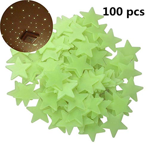 Chiak 100Pcs 1.2 inch Luminous Star Wall Stickers Glow in The Dark Fluorescent Patch Home Decor Wall Stickers (Glow In The Dark Stars Under $1)