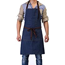 """Bib Apron Adjustable - Black Aprons for Women Men with 2 Pockets 44.8"""" Long Waist Tie Cooking Kitchen Restaurant for Women Man Unisex Chef 32 x 28"""" by BOHARERS"""
