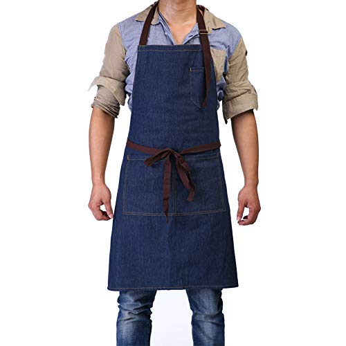 Adjustable Bib Apron with 3 Pockets - Denim Jean Kitchen Aprons for Women and Men 32 x 27