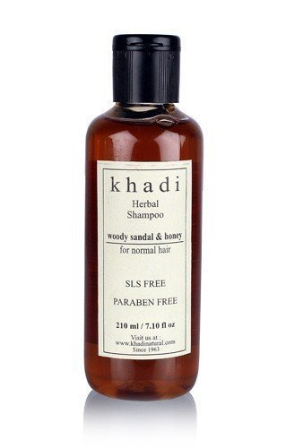 Khadi Natural Herbal Ayurvedic Woody Sandal and Honey Herbal Shampoo for all Hair Types SLS & Paraben Free (210 ml)