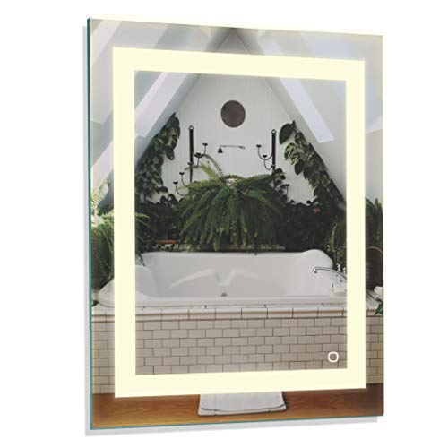 TOSCA 100087 White 24x30 Inch LED Bathroom Mirror, Anti-Fog Wall Horizontal or -