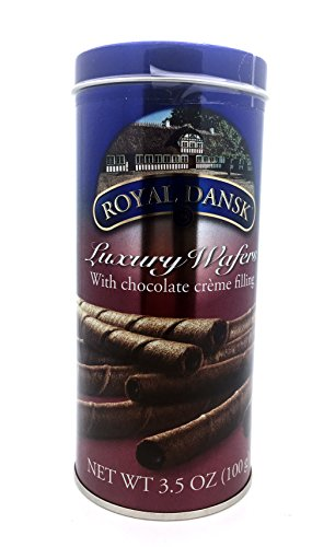 - Royal Dansk Luxury Wafers With Chocolate Filling Rolls Cookies 3.5oz Jar, 100g (Pack of 2)