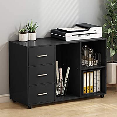 Tribesigns 3 Drawer Wood File Cabinets, Large Modern Lateral Mobile Filing Cabinets Printer Stand with Wheels, Open Storage Shelves for Home Office Study Bedroom (Black)