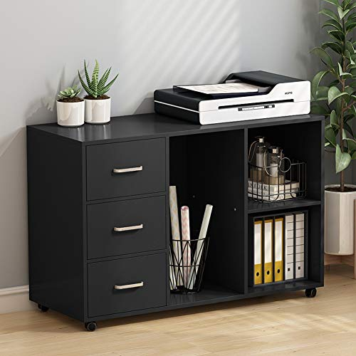 Tribesigns 3 Drawer Wood File Cabinets, Large Modern Lateral Mobile Filing Cabinets Printer Stand with Wheels, Open Storage Shelves for Home Office Study Bedroom (Black) (2 Drawer Office Printer Stand)