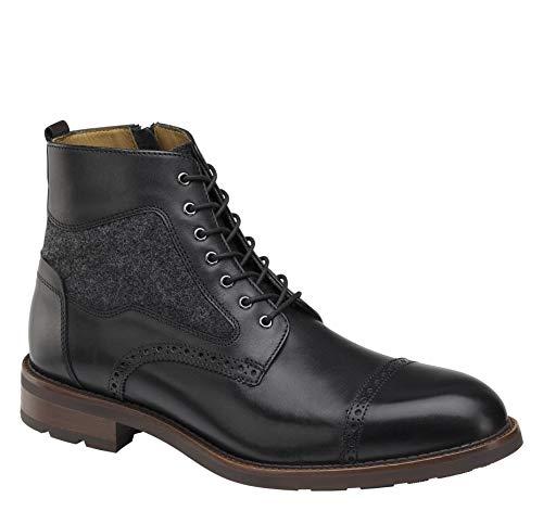 Johnston & Murphy Men's Fullerton Cap-Toe Boot Black Italian Calfskin/Gray Italian Wool 11.5 M US