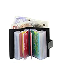 Men's Leather Credit Card Wallet-20 Clear Plastic Pockets BLACK WITH NOTE COMPARTMENT