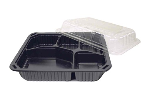 Choice-Pac L1H-1005 Polypropylene Hot Tray with Clear Lid, 10-1/2'' Length x 8-1/2'' Width x 1-1/2'' Height, Black, 5-Cavity (Case of 200) by Choice-Pac