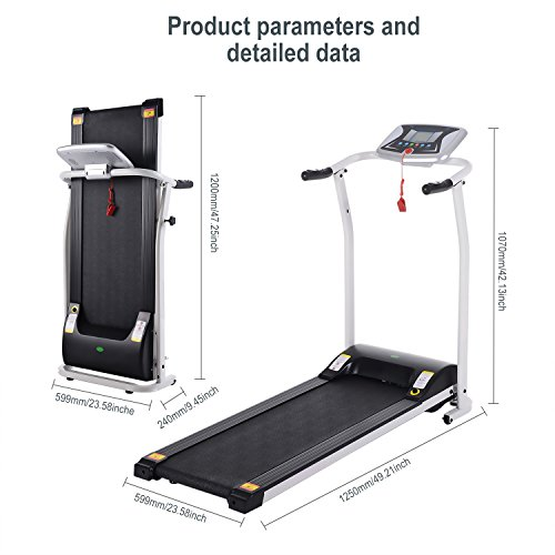 Folding Electric Treadmill Running Machine Power Motorized for Home Gym Exercise Walking Fitness (1.5 HP - White - Not Incline) by ncient (Image #4)