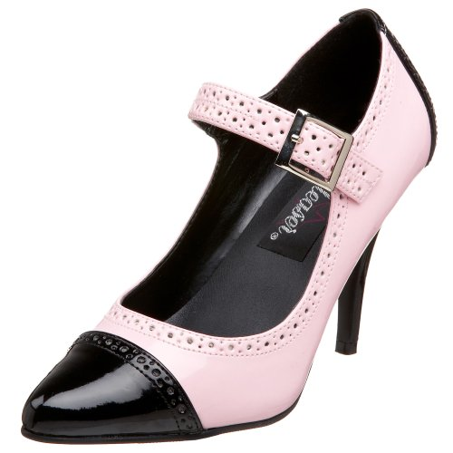 [Pleaser Women's Vanity-443 Mary Jane Pump,Black/Pink Patent,6 M US] (Gangster Halloween Costumes 2016)