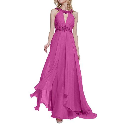 Neck Damen Abendkleider Anmutig Tanzenkleider Rosa Partykleider High Charmant Festlichkleider Lang Fuchsia Formal Steine nxaBXwYq