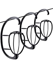 """Leeven 3Pack 15.1""""Wig Stand Collapsible Wig Holder Portable Hanging Wig Hanger Hatstand for Wigs and Hats(Black)"""
