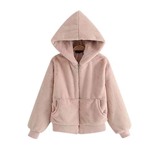 Inkach Women Faux Fur Hoodie Sweatshirts, Long Sleeve Winter Warm Coat Cardigan Sweaters Jacket (S, Pink) by Inkach - womens hoodies