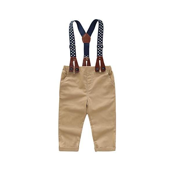 Yilaku Vestiti per Neonati Camicia a Quadri + Papillon + Bretelle + Pantaloni 4Pcs Ragazzi del Bambino Bambini Abito da… 5