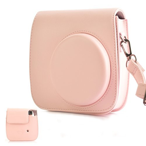(HelloHelio Classic Vintage PU Leather Compact Case with Strap for Fujifilm Instax Mini 9 / 8 / 8+ Instant Film Camera - Pink)