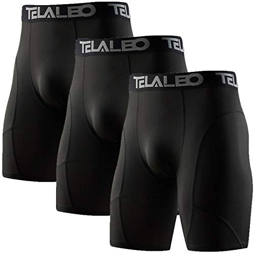 TELALEO Men's Long Compression Shorts Cool Dry Sports Tights 3black S