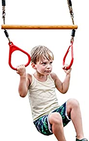 HappyPie Wooden Trapeze with Plastic Gym Rings Red- Outdoor N Indoor Playground 2 in 1 Swing Set Accessories f