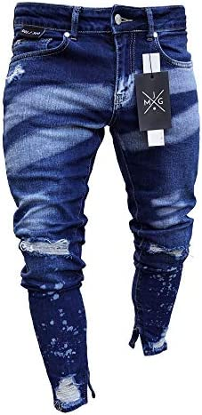 メンズ ストレート ジーンズ 綿パンツ グラデーション ストレッチ スキニー 伸縮性 デニム ダメージパンツ 美脚 スリム 細身バイカーパンツ