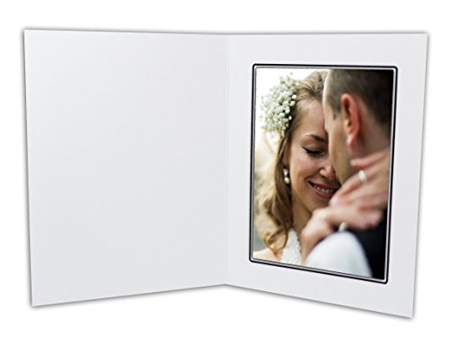 Golden State Art, Cardboard Photo Folder For a 5x7 Photo (Pack of 50) GS001 White Color by Golden State Art