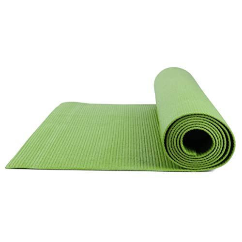 Yoga Mat for Exercise Indoor and Outdoor - All Purpose Mattress for Pilates, Stretching, Workout, Toning, Abs etc. Ideal for Any Surface, Compact, Cozy, Carrying Strap for Travel (Green, 1 Mat)
