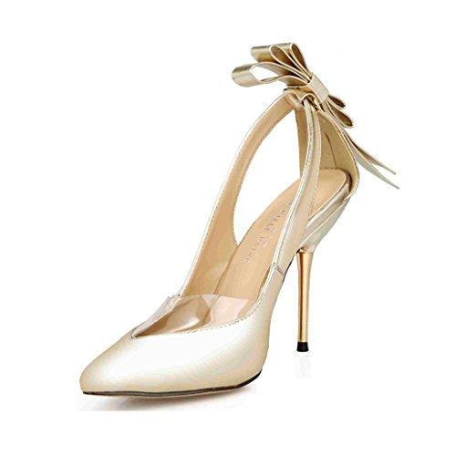 Women's golden Bowtie Heel Toe Stiletto Party Pumps Dolphin White Wedding Point Prom Sandals SM00049 High Black SCqwtZd