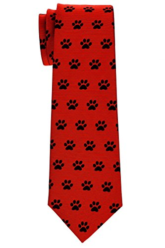 Retreez Doggie Puppy Paws Woven Microfiber Boy's Tie (8-10 years) - Red, Christmas Gift