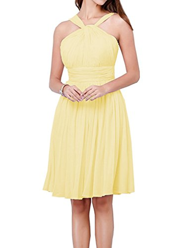 Dress Beach Yellow Gown Halter Chiffon Bridesmaid Country Short Party A Dressyu line 6S1tAt