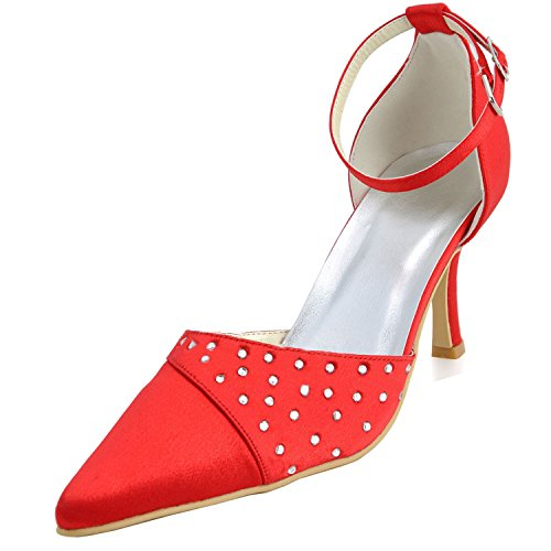 Minishion GYMZ699 Womens Pointed Toe Satin Evening Party Prom Bridal Wedding Shoes Pumps Sandals Flatfs Red-7cm Heel 89ij3