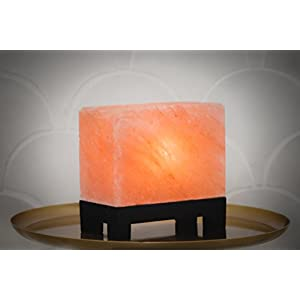 100% Authentic Natural Himalayan Salt Lamp; Hand-Carved Modern Rectangle in Pink Crystal Rock Salt from The Himalayan Mountains; Footed Wood Base, UL-Listed Dimmer Cord + Extra Bulb; 11.5 lbs