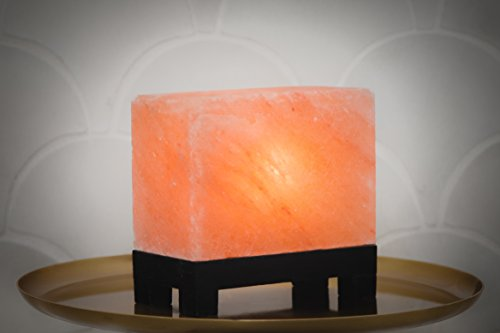 100% Authentic Natural Himalayan Salt Lamp; Hand-Carved Modern Rectangle in Pink Crystal Rock Salt from The Himalayan Mountains; Footed Wood Base, UL-Listed Dimmer Cord; 11.5 lbs by d'aplomb (Image #3)