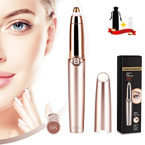 Eyebrow hair Trimmer Epilator for Women, Sikii Eye brow Remover Painless Facial Brows Hair Removal with LED Light for Good Finishing and Well Touch As Seen on TV (Rose Gold) (Rose Gold)