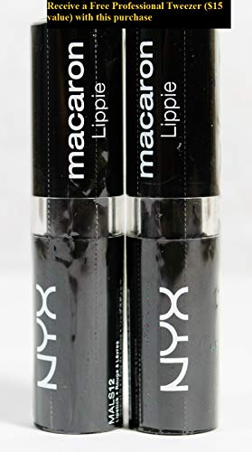 2 NYX Macaron Lippie Lipstick MALS12 CHAMBORD +FREE PROFESSIONAL TWEEZER