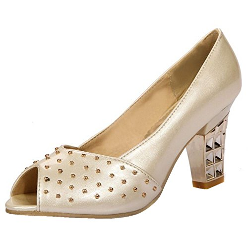 TAOFFEN Women High Heel Court Shoes Peep Toe Beige bsuWKUi