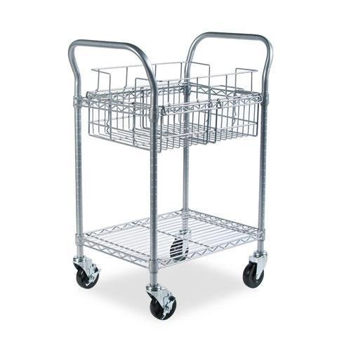 Safco 5235GR Wire Mail Cart, 600-lb Cap, 18-3/4w x 26-3/4d x 38-1/2h, Metallic Gray by Safco
